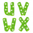 The letters U V W X drawn by paints with white blossom — Stock Photo