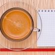 Coffee, red pen and empty place for your text — Stock Photo