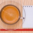 Coffee, pen and empty place for your text — Stock Photo