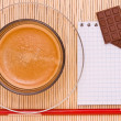 Coffee, red pen and chocolate — Foto de Stock