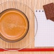 Coffee, red pen and chocolate — Stock Photo #27898173