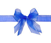 Bright blue bow and tape on a white background — 图库照片