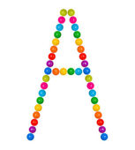 Letter A from plastic children's balls on the white — Stock Photo