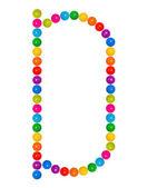 Letter D from plastic children's balls — Stock Photo