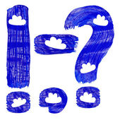 The blue punctuation marks drawn by paints with white cirri — Stock Photo