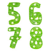The number 5 6 7 8 drawn by paints with white blossom — Stock Photo