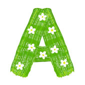 The green letters A drawn by paints with white blossom — Foto Stock