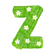 The green letters Z drawn by paints with white blossom — Foto Stock