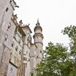 Neuschwanstein Castle, palace in southern Germany, in rainy day — Stock Photo