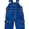Bright dark blue children's jeans on straps — Stock Photo