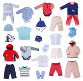 Collection of children's clothes on a white background — Stock Photo