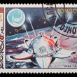 A stamp printed in the Mongolia, shows satellite Luna-9-USSR, circa 1985 — Stock Photo