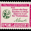 Stock Photo: US- CIRC1970s: stamp printed in USshows note Those who Deny freedom to others Deserve it not for Themselves, circ1970s