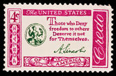 USA - CIRCA 1970s: A stamp printed in USA shows note Those who Deny freedom to others Deserve it not for Themselves, circa 1970s — Stock Photo
