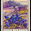 USSR - CIRCA 1976: A stamp printed in the USSR, image shows flowers of Gentianaceae (Gentiana angulosa) against mountains — Stock Photo