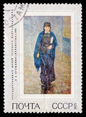 "USSR - CIRCA 1971: A stamp printed in the USSR, Picture which is in the state museum of Russian art in Kiev. N.A. Yaroshenko.""Girl student"", circa 1971 — Stock Photo"