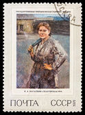 "USSR - CIRCA 1971: A stamp printed in the USSR, Picture which is in the State Tretyakov Gallery in Moscow. N.A. Kasatkin.""Woman miner"", circa 1971 — Stock Photo"
