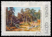 "USSR - CIRCA 1971: A stamp printed in the USSR, Picture which is in the State Tretyakov Gallery in Moscow. I.I. Shishkin.""Pine forest"", circa 1971 — Stock Photo"
