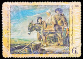 "USSR - CIRCA 1972: A stamp printed in the USSR, Picture which is in the State Hermitage in Saint Petersburg. Lui Lenen.""Family of the milkwoman"", circa 1972 — Stock Photo"