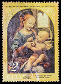 "USSR - CIRCA 1971: A stamp printed in the USSR, Picture which is in the State Hermitage in Saint Petersburg. Leonardo da Vinci.""Madonna Benua"", circa 1971 — Stock Photo"