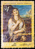 "USSR - CIRCA 1971: A stamp printed in the USSR, Picture which is in the State Hermitage in Saint Petersburg. Titian.""Penitent Saint Mary Magdalene"", circa 1971 — Stock Photo"