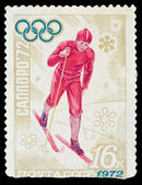 USSR - CIRCA 1972: A stamp printed in the USSR, image is devoted the winter Olympic Games in Sapporo 1972, circa 1972 — Stock Photo
