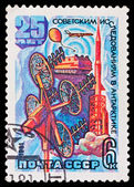USSR - CIRCA 1981: A stamp printed in the USSR, image is devoted the twenty-fifth anniversary of the Soviet researches in Antarctic, circa 1981 — Stock Photo