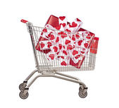 Cart for purchases with gift — Stock Photo