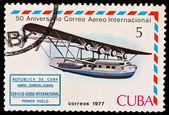 CUBA - CIRCA 1977: A stamp printed in the CUBA, image Aniversario Correo Aereo Internacional, circa 1977 — Stock Photo