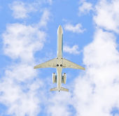 The plane in the sky — Stock Photo