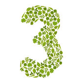 Number THERE from green leafs — Stock Photo