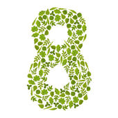 Number EIGHT from green leafs — Stock Photo