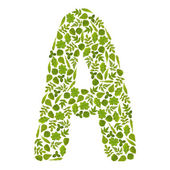 Letter A from green leafs — Stock Photo