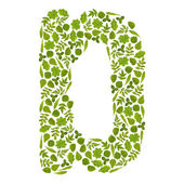 Letter D from green leafs — Stock Photo