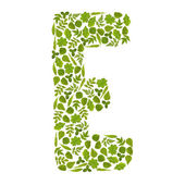 Letter E from green leafs — Stock Photo