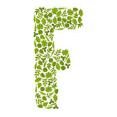 Letter F from green leafs — Stock Photo