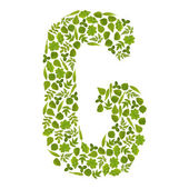 Letter G from green leafs — Stock Photo