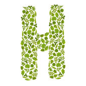 Letter H from green leafs — Stock Photo