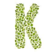Letter K from green leafs — Stock Photo