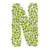 Letter N from green leafs — Stock Photo