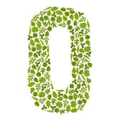 Letter O from green leafs — Stock Photo