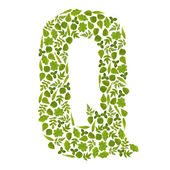 Letter Q from green leafs — Stock Photo