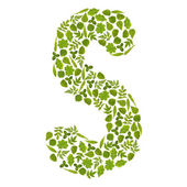 Letter S from green leafs — Stock Photo