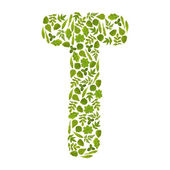 Letter T from green leafs — Stock Photo