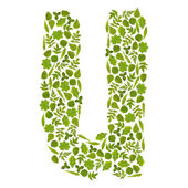 Letter U from green leafs — Stock Photo