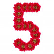 FIVE from red flowers — Stock Photo