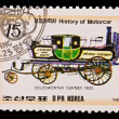 DPR KOREA - CIRCA 1985: a stamp printed by DPR Korea , images motorcar,Goldsworthy Gurney 1825. Circa 1985 — Stock Photo