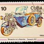 CUBA - CIRCA 1985: A stamp printed in the CUBA, image old bike, Retrospectiva de la Motociclete Fanomovil 1925, circa 1985 — Stock Photo