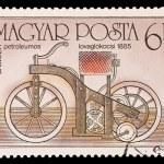 Постер, плакат: HUNGARY CIRCA 1985: A stamp printed in Hungary shows Daimler petroleumos lovaglokocsi 1885 circa 1985