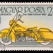 HUNGARY - CIRCA 1985: A stamp printed in Hungary shows Harley Davidson Duo-Glide 1200 cm 1960, circa 1985. — Stock Photo